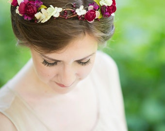 rustic wedding flower crown, bridal headpiece, floral headpiece, burgundy flower, dark red hair accessory -OLEVIA- wedding hairpiece