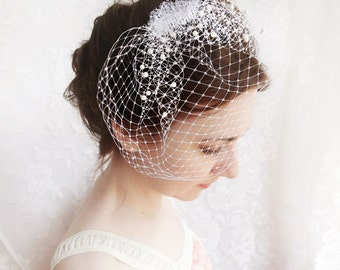 wedding birdcage veil with pearl, small wedge bridal veil - FROST - russian veiling, ivory beige or white bird cage  veil