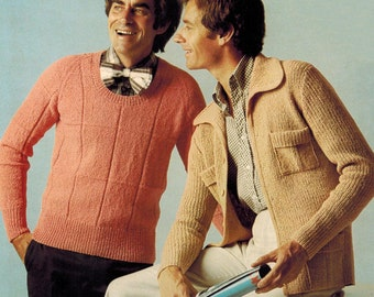 1970s Villawool L263 Vintage Knitting Pattern Men's Jacket Sizes 36 - 40 Men's Pullover Sweater Sizes 36 - 42 PDF File