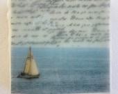 Sailing - Original Encaustic Photograph on Wood Block