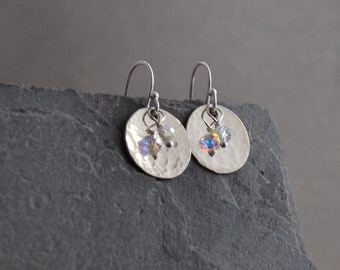 Disc and crystal earrings - hammered, small