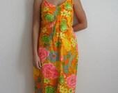 Vintage 60s EDC Hippie Flower Power Sundress Dress