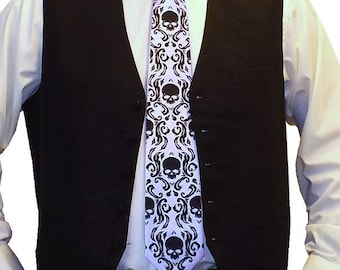RokGear Neckties 3 Damask Skull ties -  1 mens neckties and 2 boys necktie available in over 50 different colors