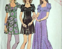 Vintage 70's Simplicity 9779 Sewing Pattern, Young Junior/Teens' Dress In Two Lengths, Size 9/10, Bust 30 1/2