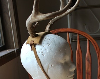Antlers NOT included LABOR ONLY plus leather for custom deer antler headband headdress crown totem horns pagan