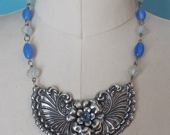 Big Bold Chunky Necklace, Big Statement Necklace, Silver Flower Necklace, Blue Bead Necklace, Art Nouveau Necklace, Large Statement Necklace
