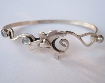 Love Bird Clasping Bracelet , symbolic bird jewelry, cuff bracelet, sterling and moonstone cuff bracelet