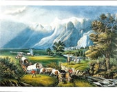 Currier Ives Print - Western Print - Vintage Lithograph Postcard - Wagon Train Print - The Rocky Mountains - Americana - 1860s