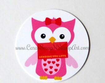 Valentine Owl Stickers - Sending You Love - Round 1 1/2 Inch Handmade,  Set of 12