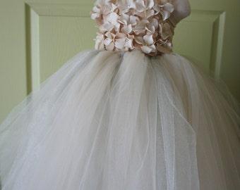 Flower girl dress Champagne and Silver Dress Champagne tutu dress, flower top, hydrangea top, toddler tutu dress