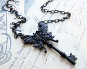 Halloween necklace, Black key necklace, Gothic Halloween jewelry, Steampunk winged skeleton key pendant, unique necklace, Halloween Fashion