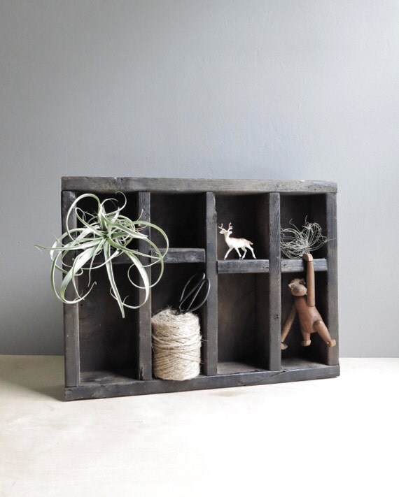 handmade wood cubby crate / rustic shadowbox
