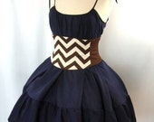 Corset Waist Cincher Belt - Zig Zag Stripe Brown and Ivory Any Size B Steampunk Costume