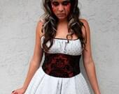 Corset Belt: Dark Red and Black Flocked Velvet Taffeta Waist Cincher Any Size B