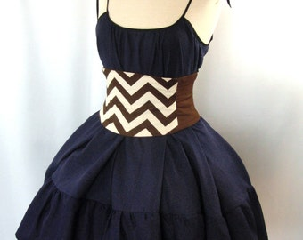 Corset Waist Cincher Belt - Zig Zag Stripe Brown and Ivory Any Size B Steampunk Costume