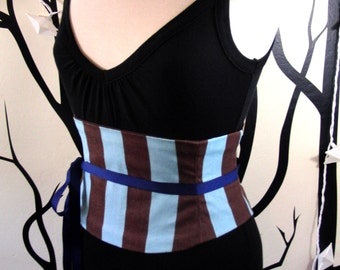 Steampunk Pirate Corset Waist Cincher Belt - Any Size Giant Blue and Brown Striped