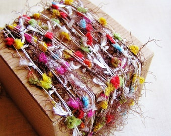Candy Rainbow/ Chocolate Tassel Pom Fringe Garland- wedding party supply, scrapbook embellishment, specialty gift wrap, novelty trim- 5 yds