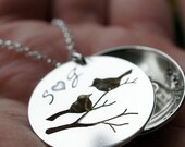 Family Bird Locket in Sterling Silver - Hand Cut Bird Nest Necklace by EWDJewelry - Jewelry Gifts for Mother's Day