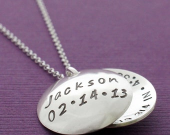 Birth Announcement Necklace - Personalized Hand Stamped Sterling Silver Locket for Mom - Birthstone Crystal and Birth Details Hidden Inside