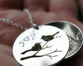 Hand Cut Bird Nest Locket - Family Bird Necklace in Sterling Silver by EWDJewelry - Mother's Day Jewelry Gifts for Mom