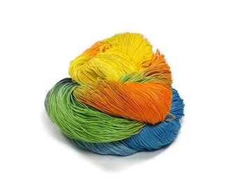300 Yards Hand Dyed Cotton Crochet Thread Size 10 3 Ply Specialty Thread Orange Yellow Green Blue Black Hand Painted Fine Cotton Yarn