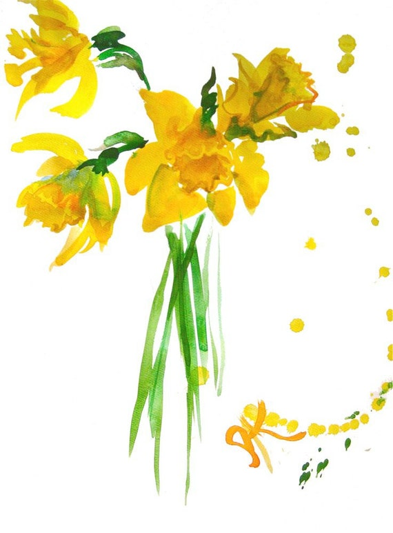 Daffodil Bouquet- original watercolor flower painting by Gretchen Kelly