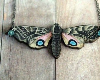 Butterfly Necklace, Moth Pendant, Beige Moth with Pink, Blue, Black, Brown Markings, Baby Blue Dangles, Gunmetal Chain, Gift Box