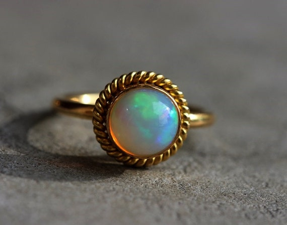 OOAK 22K Gold Opal ring Natural Opal Engagement by Studio1980