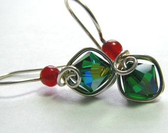 Emerald Crystal Ruby Earrings Wire Wrapped Illusion Sterling Silver Christmas Earrings Dangle E512