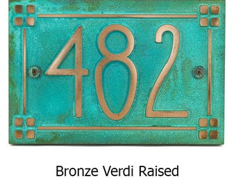 American Craftsman Address Plaque with Lines and Squares Border - Bungalow, Mission, Ranch House Numbers Made in USA 16x10.5 inches custom