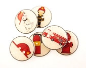 """6 Fireman Buttons.  3/4"""" or 20 mm round fire fighter sewing buttons."""