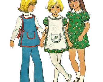 1970s  Simplicity 7064 Toddlers Dress Apron and Pants Pattern Girls Vintage Sewing Pattern Size 4 Breast 23