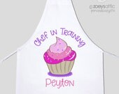 Apron chef in training cupcake girl - child youth adult personalized bib apron - great for birthday party and birthday gift