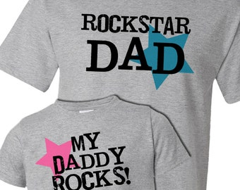 Rockstar dad my daddy rocks matching dad and kiddo t-shirt or bodysuit gift set - great gift for Father's Day or birthday