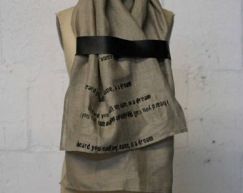 printed scarf , unisex linen leather poetry scarves,  fashion accessories, autumn , wraps and shawls