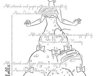 Digital Stamp - coloring page Sweet dolls - Ice Cream girl