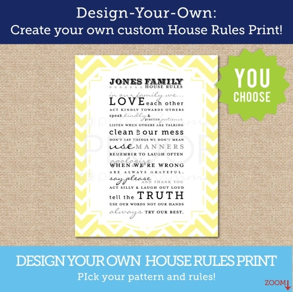 Design your own house rules personalized art printcustomize Create your own mansion