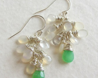 Green Chrysoprase and Natural Chalcedony Gemstone Cluster Earrings - Wire Wrapped - Wedding Jewelry - Handmade Bridal Gift Cluster Earrings