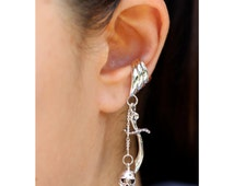 Skull Ear Cuff Silver - Skull and Scimitar Ear Cuff - Skull Earring Dagger Earring Sword Earring - Pirate Ear Cuff - Non-Pierced Earring