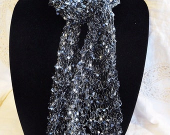 Hand Knit Scarf, Ribbon Yarn, Trellis Yarn, Shades of Gray, Silver, and Black, Lightweight, Variety Styles to wear,