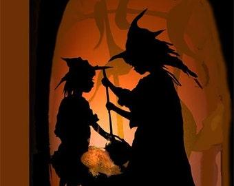 Halloween Print- Halloween Decor- Witches at the Cauldron-
