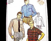 1960s Shirt Pattern for Men Short Sleeve Shirt Pattern, Long Sleeve Shirt, Tapered Mens Sports Shirt Vintage Sewing Pattern