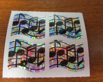 Hambly Sparkle Prismatic Music Note Stickers