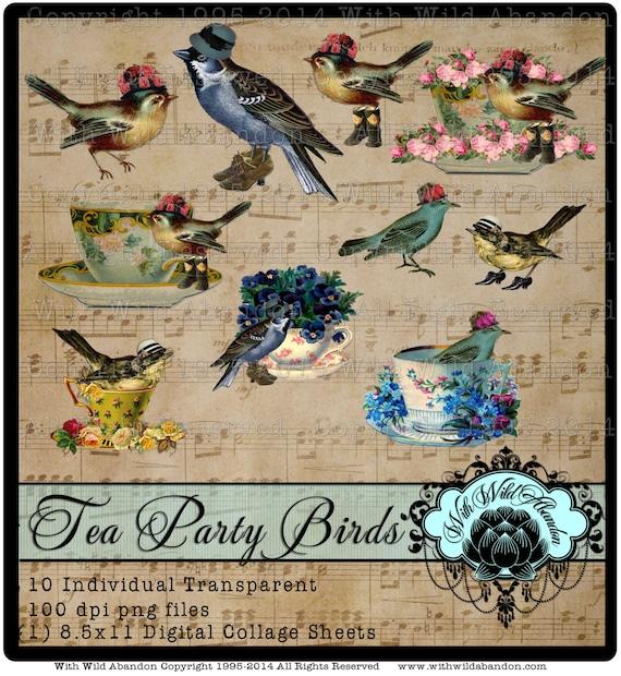 Tea Party Birds Images Clip Art and Digital Collage Sheet Printable, Bird Element Vintage Instant Download