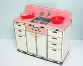 1950s Marx Pretty Maid Toy Sink with Working Metal Faucets, Pink and White, Bonus Miniature Red Dish Drainer and Basin