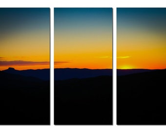 Table Rock Sunset in Linville Gorge North Carolina Canvas Triptych, 3 Panel Art, LARGE, Ready to Hang