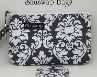 Grey and White Damask Print Wristlet and Mirror Set