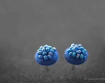 Blue earrings Small modern studs Felt earrings Round ear stud Cobalt blue post earrings Deep royal bright blue summer fashion jewelry