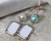 Wedding memory photo charm. Bridal bouquet charm in white or blue pearl.