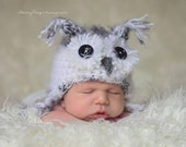Hedwig Owl Hat Harry Potter Baby Newborn 0 3m White Gray Crochet Photo Prop Baby Clothes boy girl Gender Neutral SUPER SOFT & CUTE